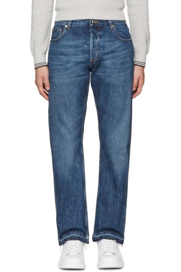 Alexander McQueen - Indigo Slit Hem Jeans