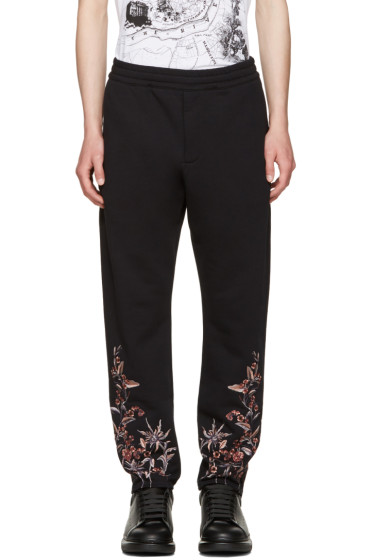 Alexander McQueen - Black Embroidered Lounge Pants