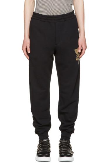 Alexander McQueen - Black Beaded Floral Classic Lounge Pants