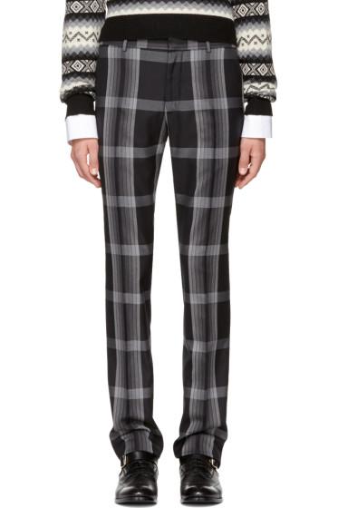 Alexander McQueen - Black & Grey Check Cigarette Trousers
