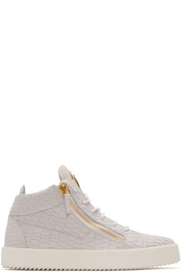 Giuseppe Zanotti - Off-White Croc-Embossed Zayn High-Top Sneakers