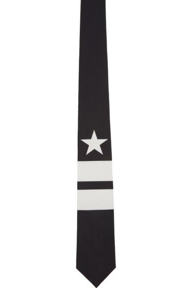 Givenchy - Black & White Star & Double Stripes Tie