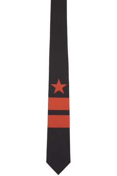 Givenchy - Black & Red Star & Double Stripes Tie