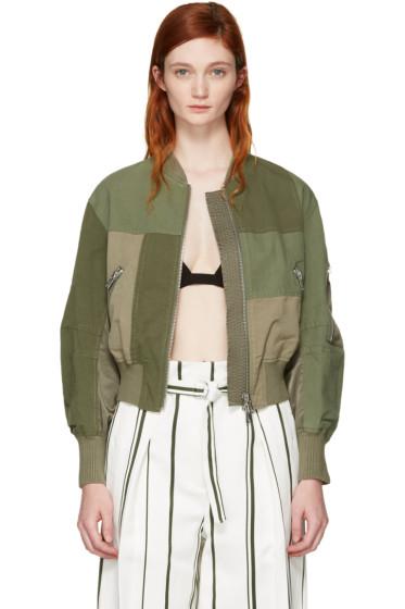 3.1 Phillip Lim - Green Patchwork Bomber Jacket