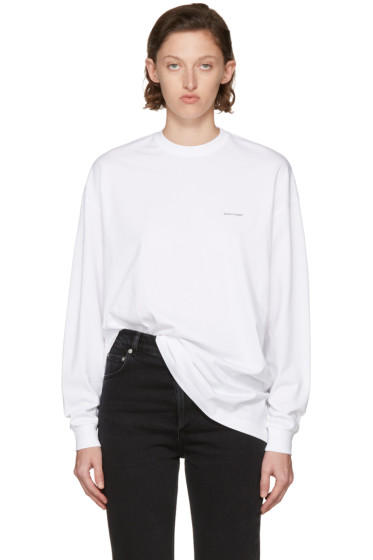 Balenciaga - White Long Sleeve Logo T-Shirt