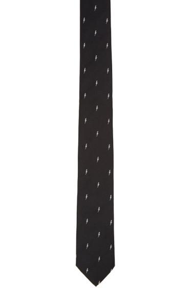 Neil Barrett - Black Thunderbolt Skinny Tie