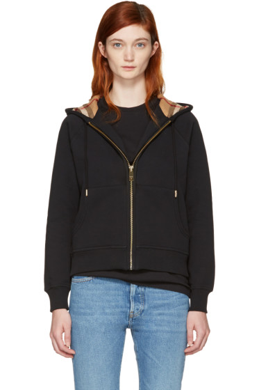 Burberry - Black Check Zip Hoodie
