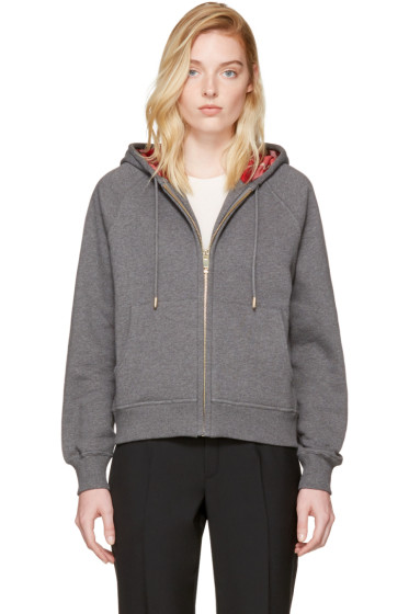 Burberry - Grey Check Zip Hoodie