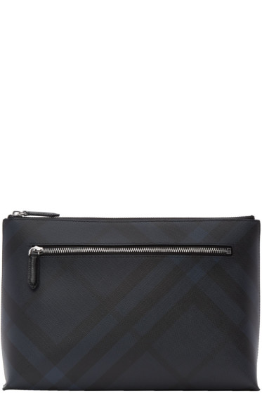 Burberry - Navy Duncan London Check Pouch