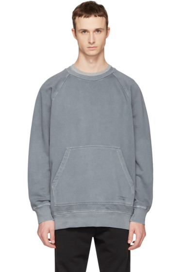 Burberry - Blue Oversized Garment-Dyed Sweatshirt