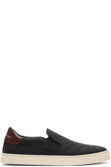 Burberry - Black Copford Check Slip-On Sneakers