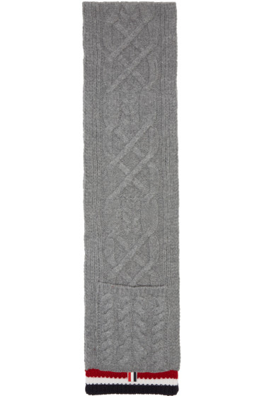 Thom Browne - Grey Aran Cable Pocket Scarf