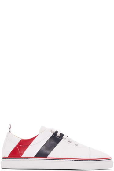 Thom Browne - White Diagonal Stripe Straight Toe Cap Sneakers