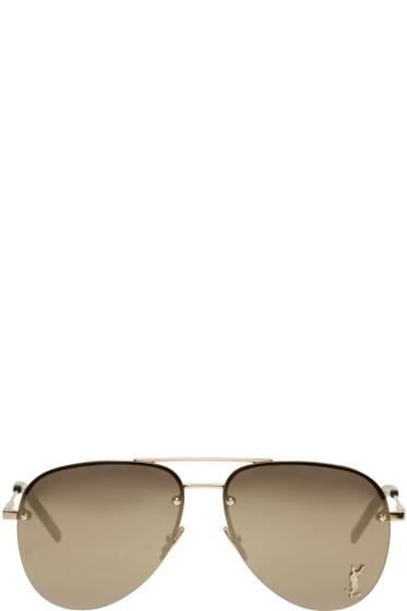 Saint Laurent - Gold Monogram M11 Aviator Sunglasses