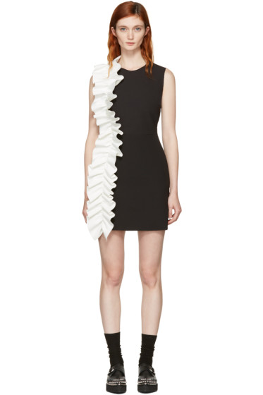 MSGM - Black Contrast Ruffle Shift Dress