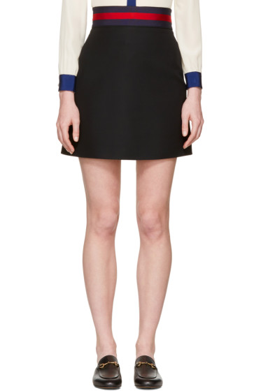 Gucci - Black Web Ribbon Miniskirt