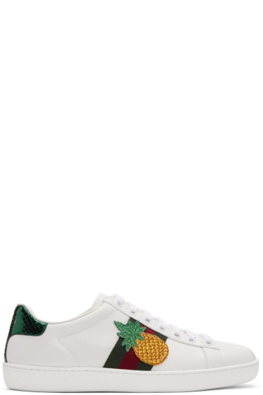 Gucci - White Pineapple & Ladybug Ace Sneakers