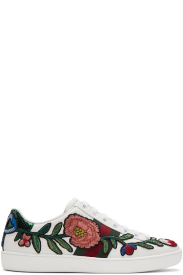 Gucci - White Floral & Bow Ace Sneakers