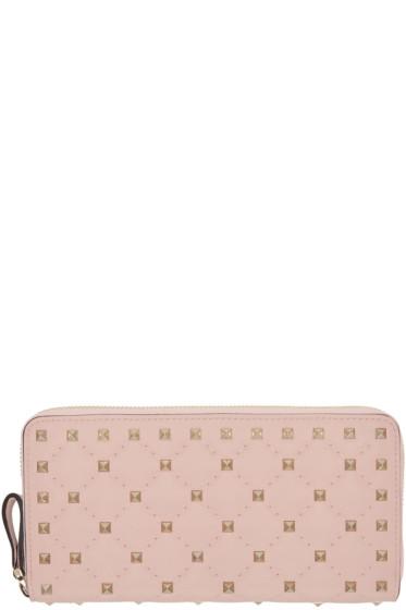 Valentino - Pink Rockstud Spike Continental Zip Wallet
