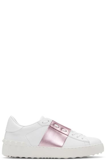 Valentino - White & Pink Metallic Open Sneakers