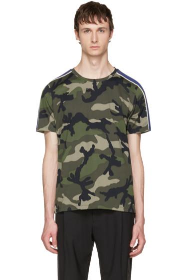 Valentino - Green Camouflage & Stripes Shirt