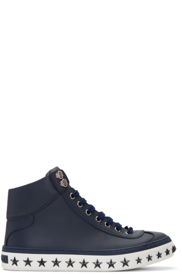Jimmy Choo - Navy Star Sole Argyle High-Top Sneakers