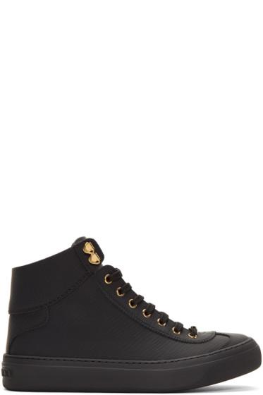 Jimmy Choo - Black Argyle High-Top Sneakers