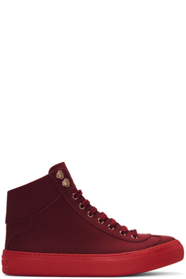 Jimmy Choo - Red Argyle High-Top Sneakers
