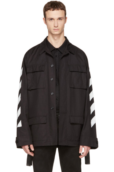 Off-White - Black Brushed Diagonal Field Jacket