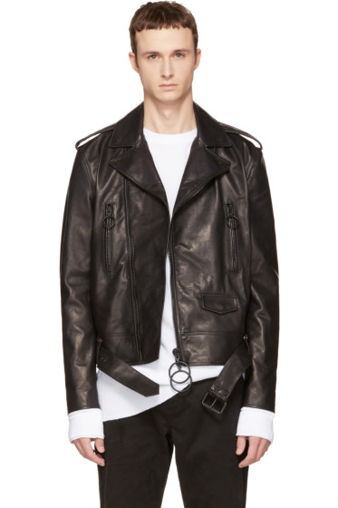 Off-White - Black Leather Brushed Biker Jacket