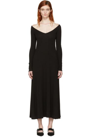 Rosetta Getty - Black Open V-Neck T-Shirt Dress
