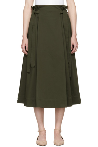 Rosetta Getty - Green Knotted Pull-On Skirt
