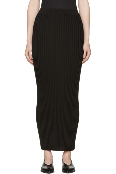 Rosetta Getty - Black Ribbed Long Skirt
