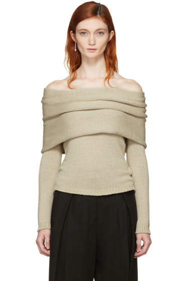 Rosetta Getty - Beige Banded Off-the-Shoulder Pullover