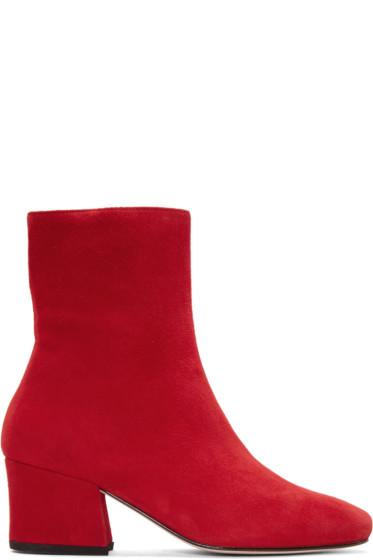 Dorateymur - Red Suede Sybil Leek Boots