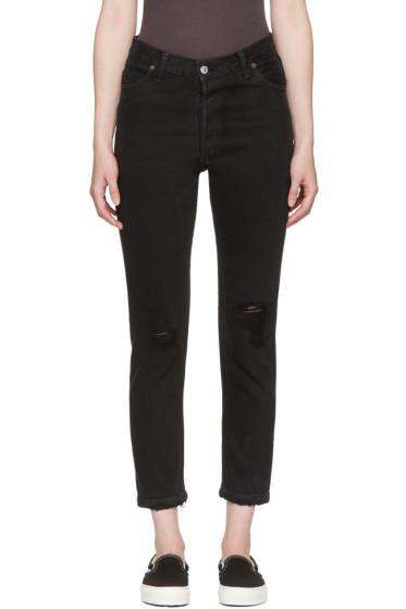 Re/Done - Black High-Rise Ankle Crop Destruction Jeans