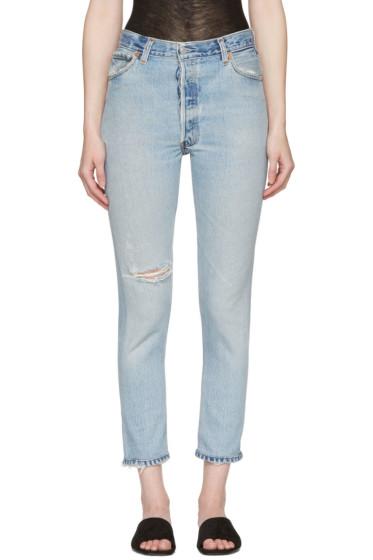 Re/Done - Blue High-Rise Ankle Crop Destruction Jeans