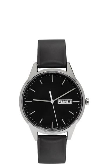 Uniform Wares - Silver & Black Rubber C40 Calendar Watch