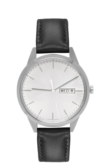 Uniform Wares - Silver & Black Leather C40 Calendar Watch