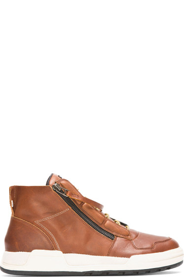 Slvr - Brown Leather Zip Syin High-Top Sneakers