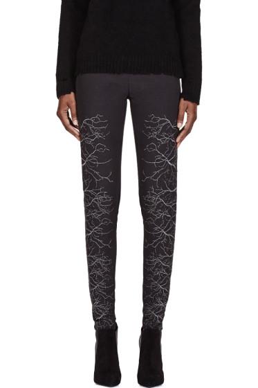 Gareth Pugh - Grey & Silver Faille Embroidered Trousers