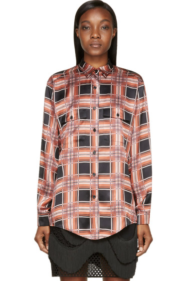 Rodarte - Rust & Black Plaid Silk Blouse