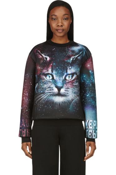 Juun.J - SSENSE Exclusive Black & Purple Cosmic Cat Sweatshirt