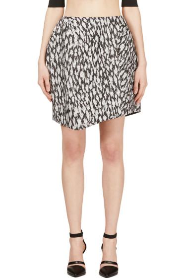 Mugler - Black & White Leopard Jacquard Skirt