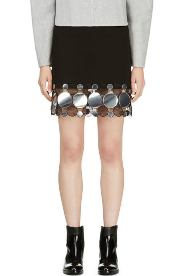 Christopher Kane - Black & Silver Continuous Molecule Trim Skirt