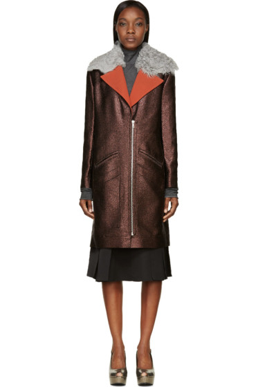 Rodarte - Brown Shearling Collar Metallic Coat