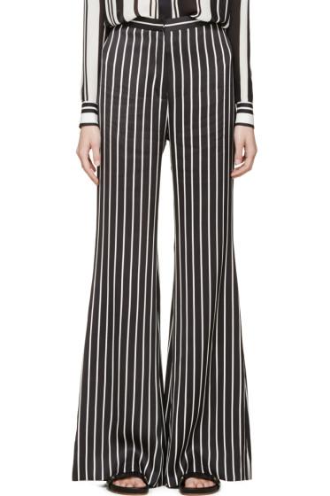Balmain - Black & White Striped Flared Trousers