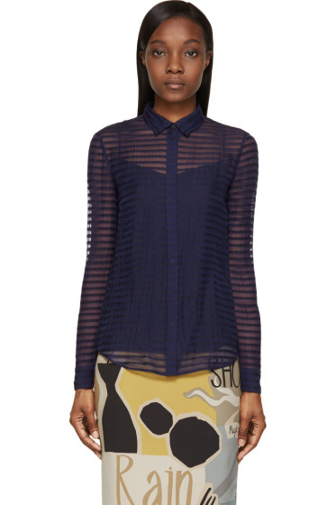 Burberry Prorsum - Bright Navy Sheer Striped Silk Chiffon Shirt