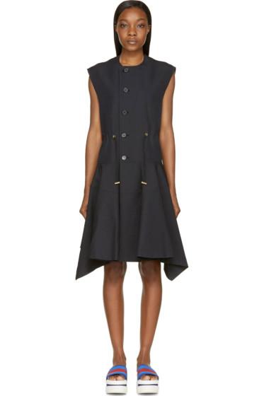 Marni - Coal Sleeveless Button-Up Pleated Coat