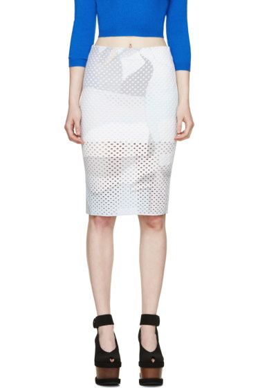 Kenzo - White Stretch Perforated Skirt